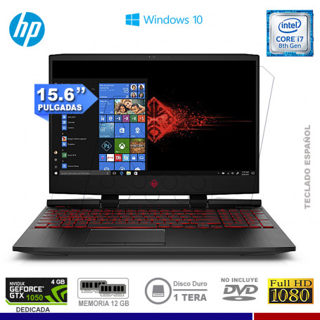 "NOTEBOOK HP OMEN 15-DC0005LA INTEL CORE I7 8750H 12GB 1TB VIDEO 4GB NVIDIA 1050 15.6"" FREE DOS"