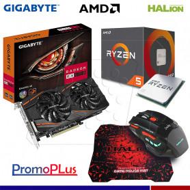 PromoPlus RADEON RX 570 4GB + PROCESADOR AMD RYZEN 5 1400 + MOUSE GAMER HA-915
