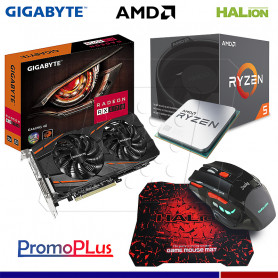 PromoPlus RADEON RX 570 4GB + PROCESADOR AMD RYZEN 5 1500 + MOUSE GAMER HA-915