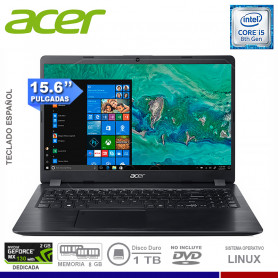"NOTEBOOK ACER ASPIRE 5 A515-52G-52KS INTEL CORE I5 8265U 8GB 1TB VIDEO 2GB NVIDIA MX130 15.6"" FREE DOS"