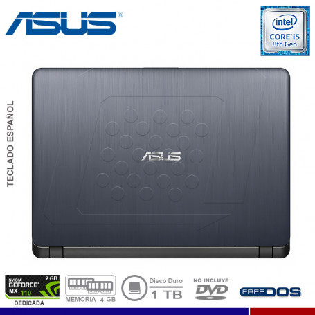 "NOTEBOOK ASUS X507UB-BR349 INTEL CORE I5 8250U 4GB 1TB VIDEO 2GB NVIDIA MX110 15.6"" FREE DOS"