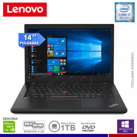"NOTEBOOK LENOVO THINKPAD T480 INTEL CORE i7 8550U 8GB 1TB VIDEO NVIDIA 2GB 14"" WINDOWS 10 PRO 64 BIT"
