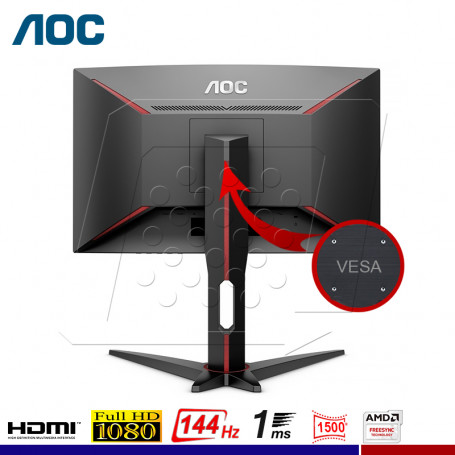 "MONITOR GAMING AOC C24G1 CURVO 24"" 144Hz. 1ms"