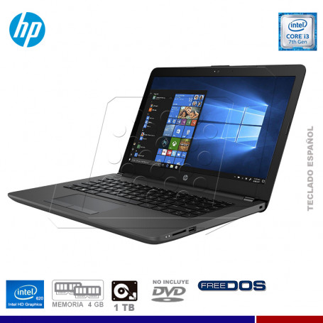 "NOTEBOOK HP 240G6 INTEL CORE I3 7020U, 4GB RAM, 1TB HD, 14"" FREE DOS."