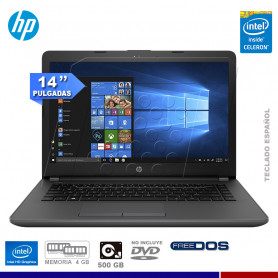 "NOTEBOOK HP 240 G6, INTEL CELERON N3350, 4GB RAM, HD 500GB, 14"", FREE DOS."