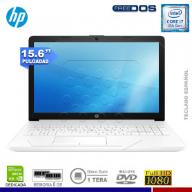 "LAPTOP HP 15-DA0013LA INTEL CORE I7-8550U, 8GB RAM, 1TB HDD, VGA 4GB, 15.6"", DVD, FREE DOS."