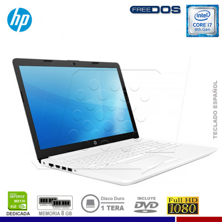 "LAPTOP HP 15-DA0013LA INTEL CORE I7-8550U, 8GB RAM, 1TB HDD, VGA 4GB, 15.6"", DVD, FREE DOS."