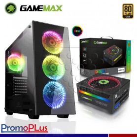 PromoPlus CASE GAMEMAX DRACO RGB + FUENTE GAMEMAX 1050W GOLD MODULAR RGB.