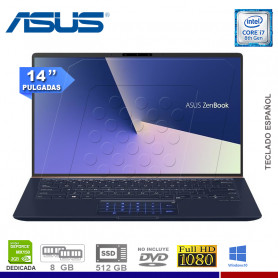 """LAPTOP ASUS ZENBOOK UX433FN-A5069T, I7-8565U, SSD 512, 8GB, NVIDIA MX150 2GB, 14"""", WIN. 10."""