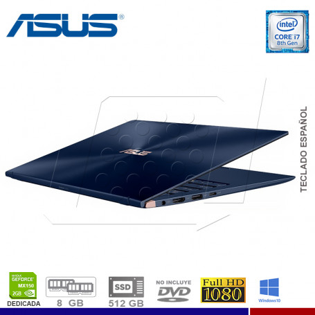 "LAPTOP ASUS ZENBOOK UX433FN-A5069T, I7-8565U, SSD 512, 8GB, NVIDIA MX150 2GB, 14"", WIN. 10."