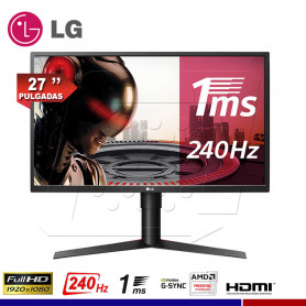 "MONITOR GAMING LG 27"" 27GK750F-B, AMD FreeSync, 1Ms, 240Hz."