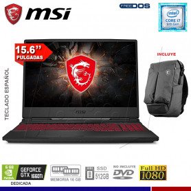 "LAPTOP GAMING MSI GL65 9SD, INTEL I7-9750H, SSD 512,16GB RAM, 15.6"", GTX1660TI 6GB."