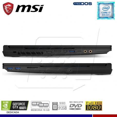 "LAPTOP GAMING MSI GL65 9SD, INTEL I7-9750H, SSD 512,16GB RAM, 15.6"", GTX1660TI 6GB."