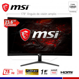 "MONITOR GAMING CURVO MSI OPTIX G241VC, 23.6"", 1ms, 75Hz."