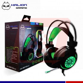 AURICULAR GAMER HALION HA-857 LED VERDE USB