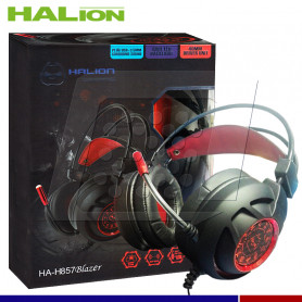 AURICULAR GAMER HALION HA-857 LED ROJO USB