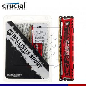 MEM. RAM CRUCIAL BALLISTIX RED 4GB DDR4 MHZ.